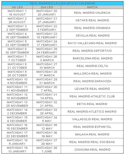 real madrid fixtures 2012 to 2013