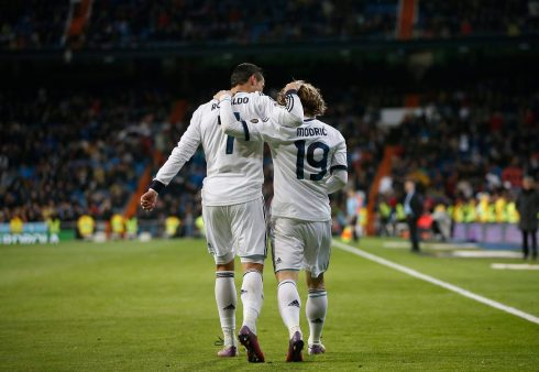 Real Madrid's Luka Modric celebrates scoring against Real Mallorca with team mate Cristiano Ronaldo during their Spanish first division soccer match at Santiago Bernabeu stadium in Madrid