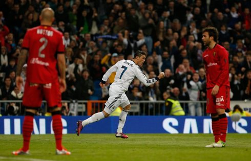 Real Madrid's Cristiano Ronaldo celebrates scoring against Real Mallorca during their Spanish first division soccer match at Santiago Bernabeu stadium in Madrid