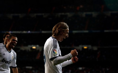 Real Madrid's Luka Modric celebrates scoring against Real Mallorca during their Spanish first division soccer match at Santiago Bernabeu stadium in Madrid