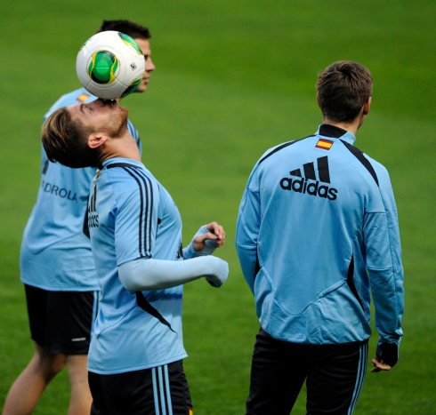 Spain's player Sergio Ramos controls the ball during a training session at El Molinon stadium in Gijon