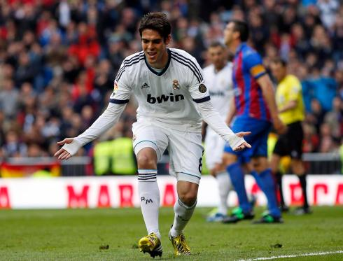 Real Madrid's Kaka celebrates after scoring a goal against Levante during their Spanish first division soccer match in Madrid