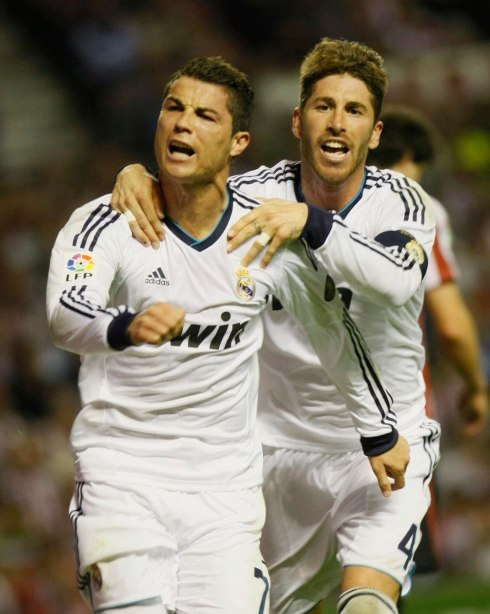 Real Madrid's Ronaldo celebrates goal against Athletic Bilbao with Ramos during Spanish first division soccer match in Bilbao