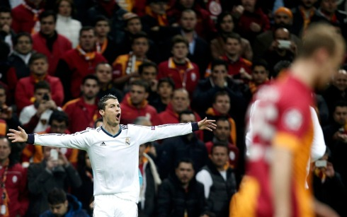 Real Madrid's Ronaldo celebrates after scoring a goal against Galatasaray during their Champions League quarter-final second leg soccer match in Istanbul
