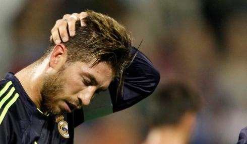 Real Madrid's Ramos reacts after a foul during their Spanish First division soccer league match against Zaragoza at La Romareda stadium in Zaragoza