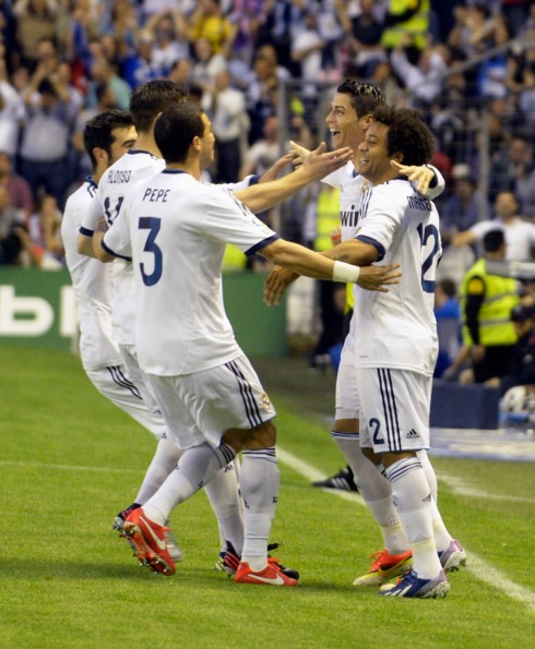 Real Madrid's Ronaldo celebrates goal against Athletic Bilbao during Spanish first division soccer match in Bilbao