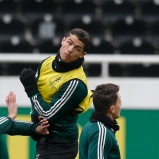 Real Madrid's Ronaldo and Ozil attend a training session at Besiktas Inonu stadium in Istanbul