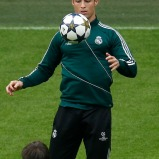 Real Madrid's Cristiano Ronaldo plays a ball during a training session in Dortmund