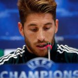 Real Madrid's Sergio Ramos attends a news conference on the eve of their Champions League semi-final second leg soccer match against Borussia Dortmund, at Valdebebas training grounds, outside Madrid