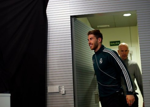 Real Madrid's Sergio Ramos arrives for a news conference on the eve of their Champions League semi-final second leg soccer match against Borussia Dortmund, at Valdebebas training grounds, outside Madrid