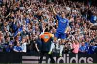 Chelsea's Torres celebrates after scoring against Everton during their English Premier League soccer match in London