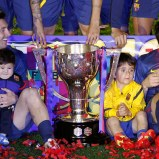 Leo with Thiago and Cesc with Lia