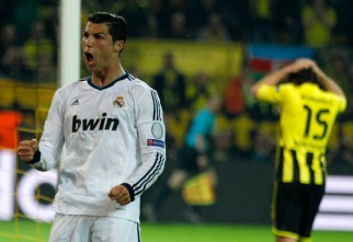 Real Madrid's Ronaldo celebrates after scoring against Borussia Dortmund in Champions League semi-final first leg soccer match in Dortmund