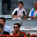 Real Madrid's Ramos attends the men's singles match between Federer of Switzerland and Nishikori of Japan at the Madrid Open tennis tournament