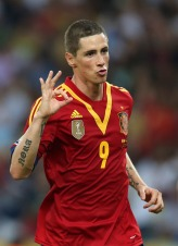 Spain's Torres gestures after scoring his third goal during their Confederations Cup Group B soccer match against Tahiti at the Estadio Maracana in Rio de Janeiro