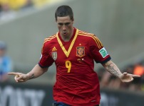 Spain's Fernando Torres celebrates after scoring against Tahiti during their Confederations Cup Group B soccer match at the Estadio Maracana in Rio de Janeiro