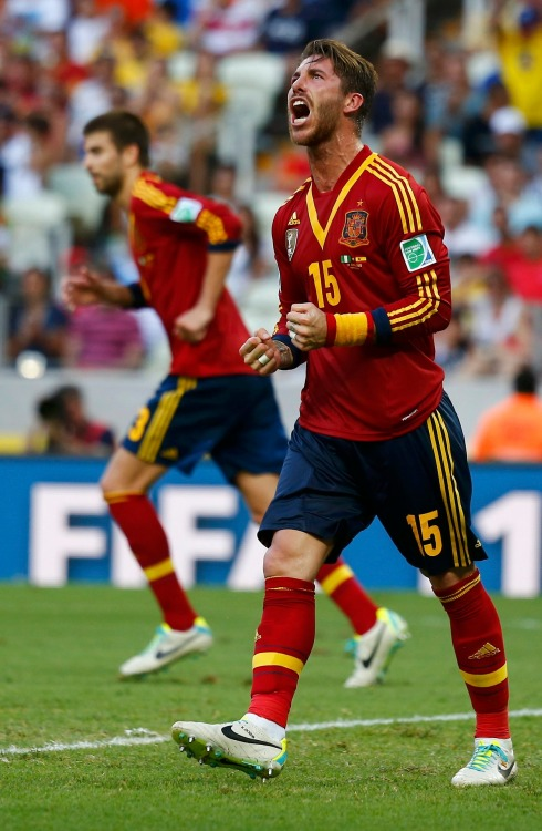 Spain's Ramos reacts after missing a scoring opportunity during their Confederations Cup Group B soccer match against Nigeria at the Estadio Castelao in Fortaleza