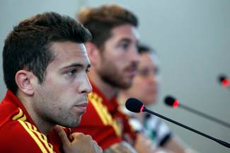 Spain's national soccer team players Sergio Ramos and Jordi Alba attend a news conference in Forlaleza