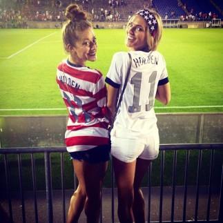 Karalyn & her sister cheering on the USMNT