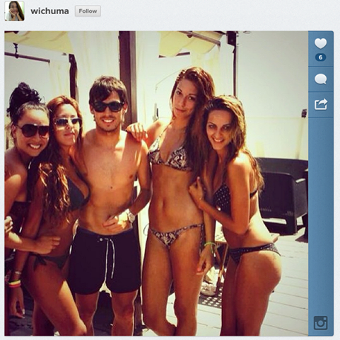 Silva apparently ain't hurting for the ladies in Ibiza!