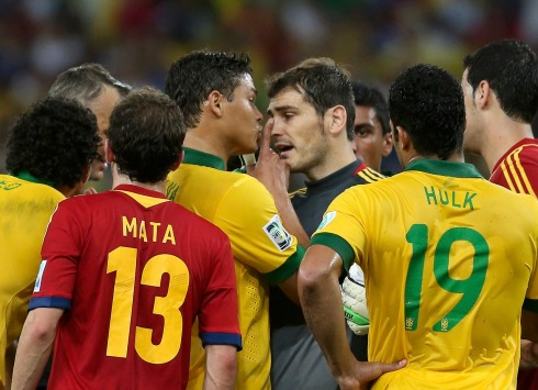 Brazil's captain Silva argues with Spain's goalkeeper and captain Casillas during their Confederations Cup final soccer match at the Estadio Maracana in Rio de Janeiro