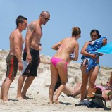 EXC Barcelona´s goalkeeper Victor Valdes with his family on holidays in Ibiza