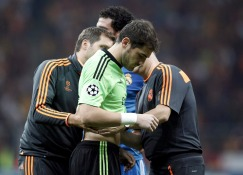 Real Madrid's Casillas reacts to his injury during their Champions League soccer match against Galatasaray in Istanbul
