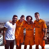 Caio at the kit launch with Marcelo, BadHair!Karim & Gareth.