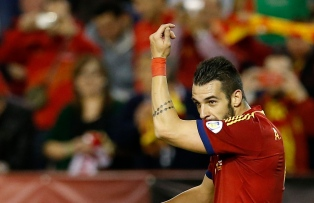 Spain's Alvaro Negredo celebrates his goal during their 2014 World Cup qualifying soccer match against Georgia at Carlos Belmonte stadium in Albacete