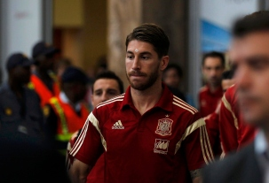 Spain's Ramos arrives at the O. R. Tambo International Airport, ahead of Tuesday's international friendly soccer match against South Africa, in Johannesburg