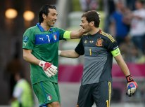 Italy's goalkeeper Buffon and Spain's goalkeeper Casillas talk after their Group C Euro 2012 soccer match at the PGE Arena in Gdansk