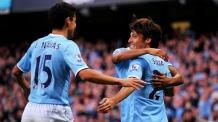 David Silva and Jesus Navas of Manchester City