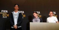 FIFA Men's World Player of the Year 2013 nominees Ronaldo of Portugal, Messi of Argentina and Ribery of France arrive for a news conference ahead of the FIFA Ballon d'Or soccer awards ceremony in Zurich