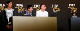 FIFA Men's World Player of the Year 2013 nominees Ronaldo of Portugal, Messi of Argentina and Ribery of France attend a news conference ahead of the FIFA Ballon d'Or soccer awards ceremony in Zurich