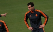 Real Madrid's Bale reacts during training session at club's sport grounds in Madrid