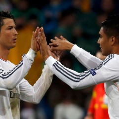 Real Madrid's Ronaldo is substituted by Casemiro during their Champions League quarter-final first leg soccer match against Borussia Dortmund in Madrid