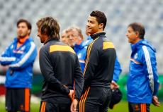 Real Madrid's Cristiano Ronaldo attends a training session in Munich