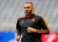 Real Madrid's Karim Benzema runs during a training session in Munich