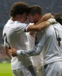 Real Madrid's Sergio Ramos celebrates his first goal against Bayern Munich with teammate Pepe during their Champions League semi-final second leg soccer match in Munich