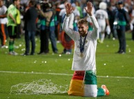 Real Madrid's Ramos celebrates after defeating Atletico Madrid in the their Champions League final soccer match at the Luz Stadium in Lisbon