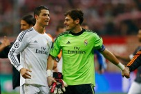 Real Madrid's Ronaldo celebrates with team mate goalkeeper Casillas after defeating Bayern Munich in their Champions League semi-final second leg soccer match in Munich