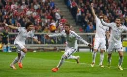 Real Madrid's Sergio Ramos celebrates his first goal against Bayern Munich during their Champions League semi-final second leg soccer match in Munich