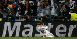 Real Madrid's Ramos reacts after scoring the first goal for the team during their Champions League final soccer match against Atletico Madrid at the Luz Stadium in Lisbon