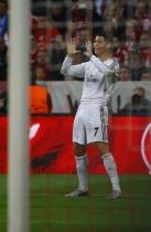 Real Madrid's Ronaldo celebrates goal against Bayern Munich in Champion's League semi-final second leg soccer match in Munich