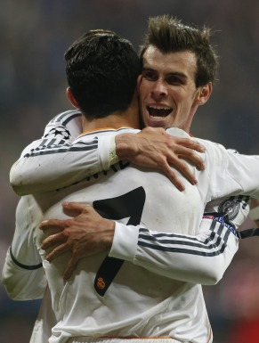 Real Madrid's Ronaldo celebrates with Bale after scoring against Bayern Munich in Champion's League semi-final second leg soccer match in Munich