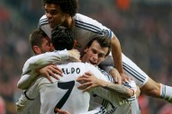 Real Madrid's Cristiano Ronaldo celebrates his goal against Bayern Munich with teammates Pepe, Bale and Sergio Ramos during their Champions League semi-final second leg soccer match in Munich