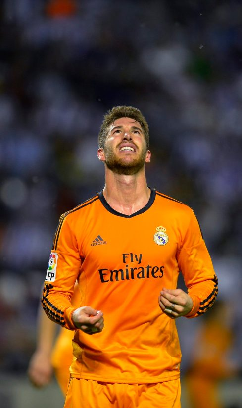 Real Madrid's Sergio Ramos reacts after missing a opportunity to score against Valladolid during their Spanish First Division soccer match at Zorrilla Stadium in Valladolid