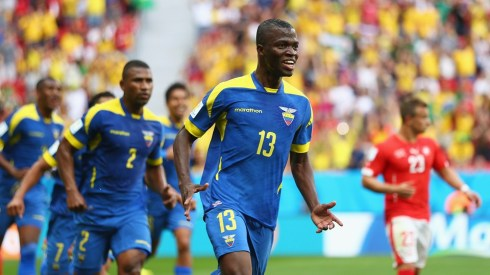 Enner Valencia celebrates a well-taken header.