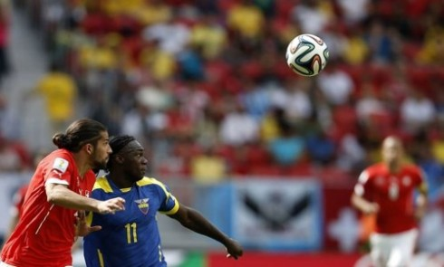 Felipe Caicedo of Ecuador and Switzerland's Ricardo Rodriguez have their eyes on the prize.