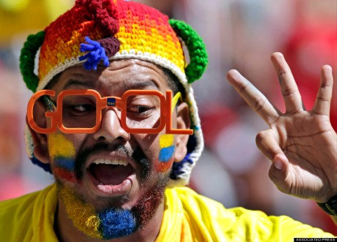 An Ecuadorean fan readies for the match (Fernando Llano/AP).